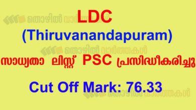 Photo of Kerala PSC: LDC Short List Published (Trivandrum District)